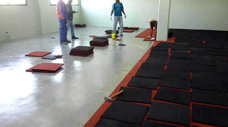 rubber flooring tiles installation