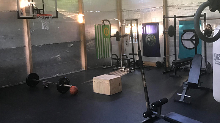 A home gym can also be a play area for kids