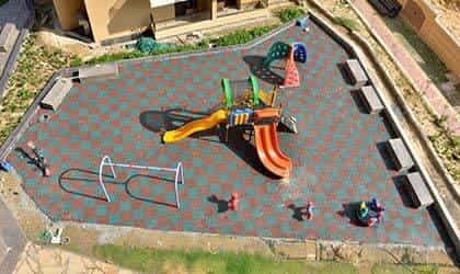 sports area rubber tiles flooring