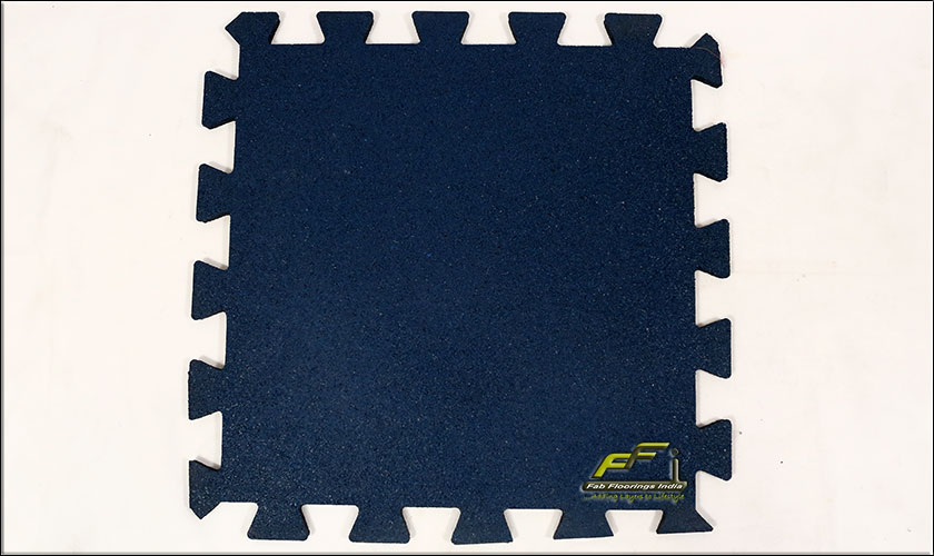 blue interlocking rubber tile