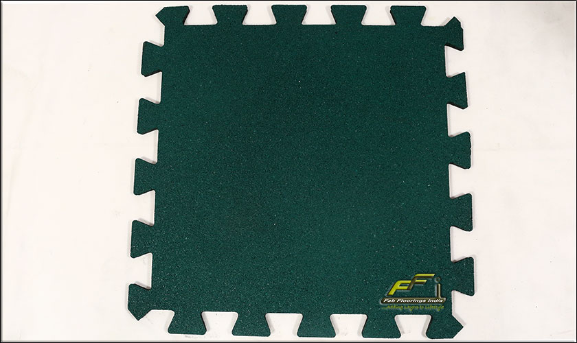 green interlocking rubber tiles