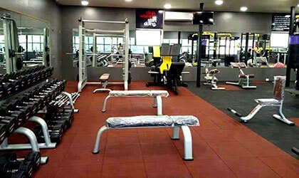terracotta & black rubber tiles gym flooring